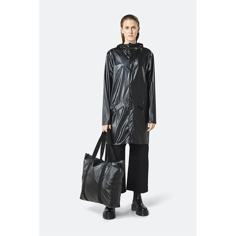 RAINS Tote Bag Shiny Black-184114