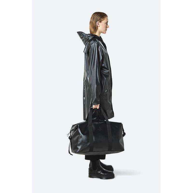 RAINS Weekend Duffel Bag Shiny Black-184159